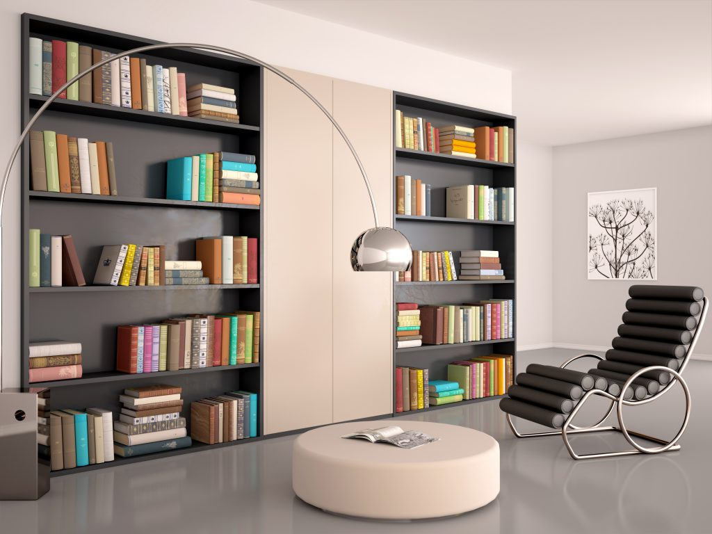 diy fitted office furniture. Fitted Home Office Furniture · 3d Illustration Of Interior Modern Room For Reading. The Wall Bookcase And Diy A