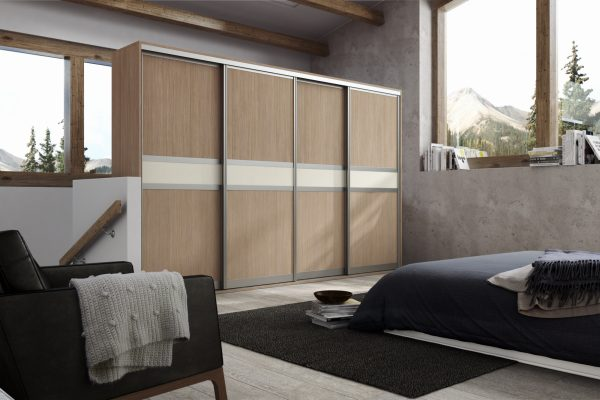 Set 6 Aluminium - Sonoma Oak MFC & Light Beige Glass